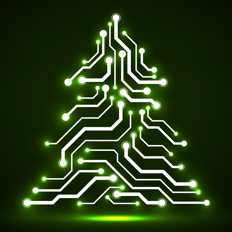 Glowing connections on a circuit board in the shape of a Christmas tree.