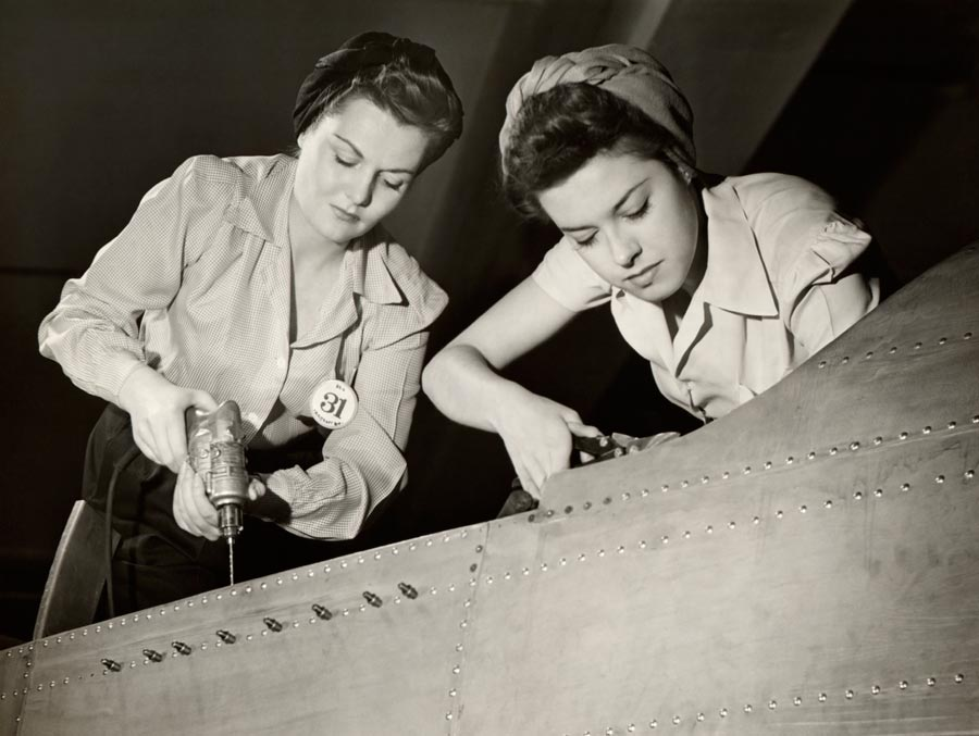 Women working on Second World War aircraft assembly. Photo: George Marks/Getty Images