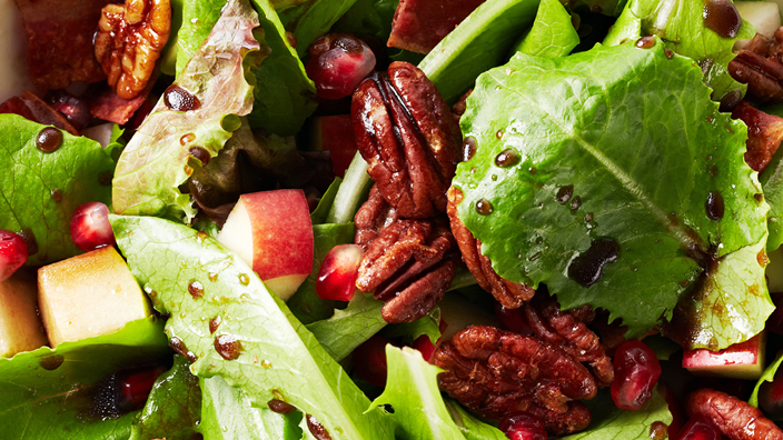 Maple balsamic salad with bacon.