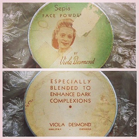 A photo of Viola Desmond's Sepia foundation, which catered to darker skin.