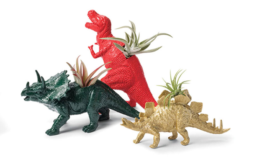 Ceramic dinosaur-shaped planters