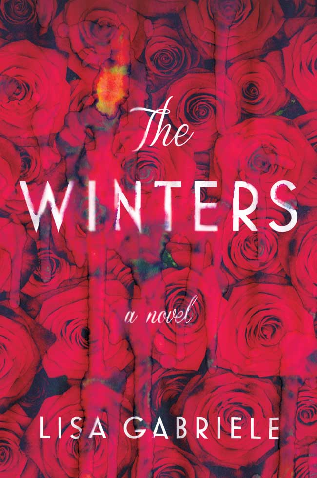The book cover for The Winters featuring a background of red roses behind the title and author.