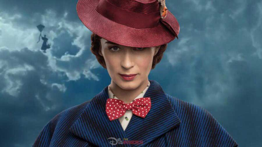Mary Poppins wearing her red hat with the brim pulled down over her one eye.