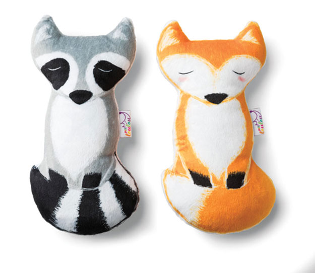 A fox and racoon plush