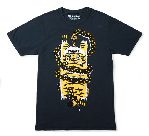 A black t-shirt with tiger and snake print