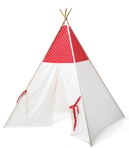 A white and red kids play tent