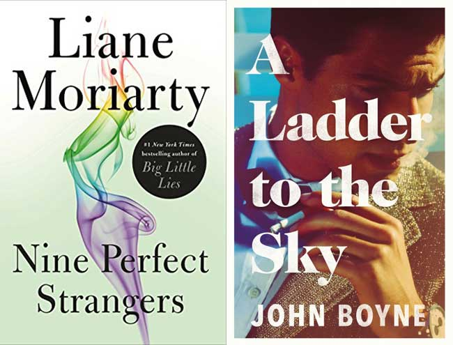 Book covers for Nine Perfect Strangers and A Ladder To The Sky.