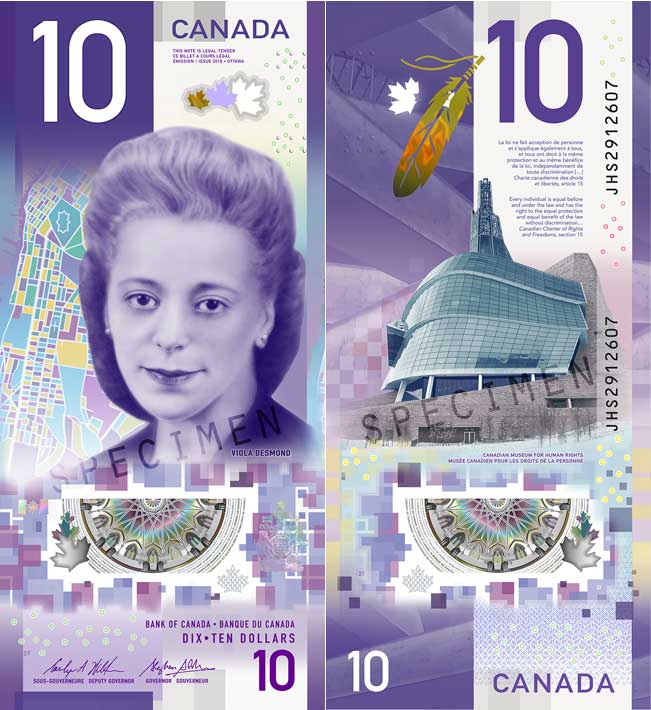 The new purple $10 bill honouring Viola Desmond.