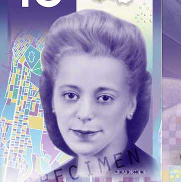 The new purple $10 bill honouring Viola Desmond.