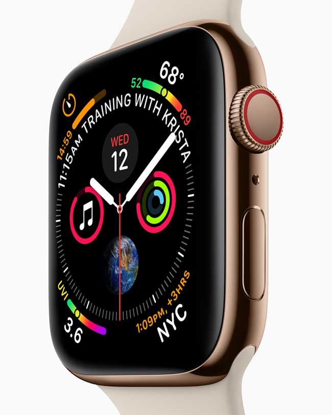 The apple watch series 4 displaying the minute, second and hour hand.