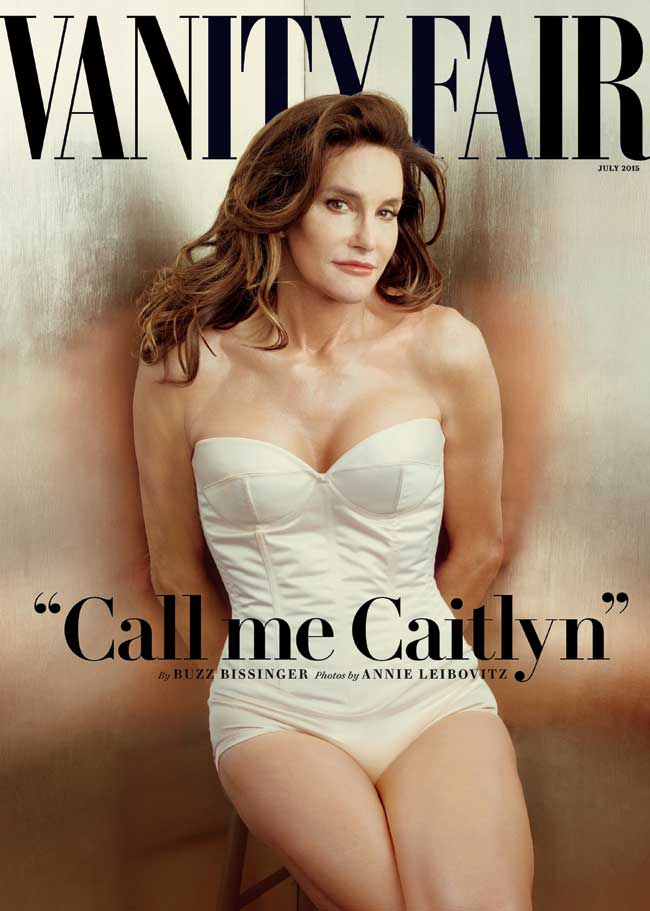The cover of Vanity Fair featuring Caitlyn Jenner in a white one piece bathing suit.