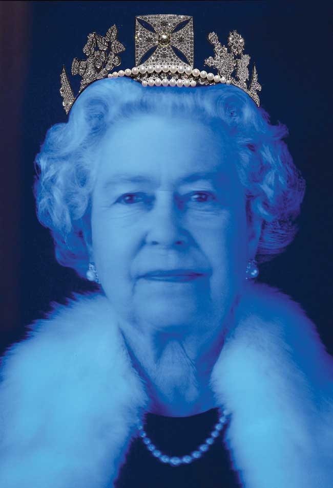 Queen Elizabeth II wears a recreation of her coronation diadem featuring 1,000 diamonds to celebrate her 2012 Diamond Jubilee in a portrait by Chris Levine.
