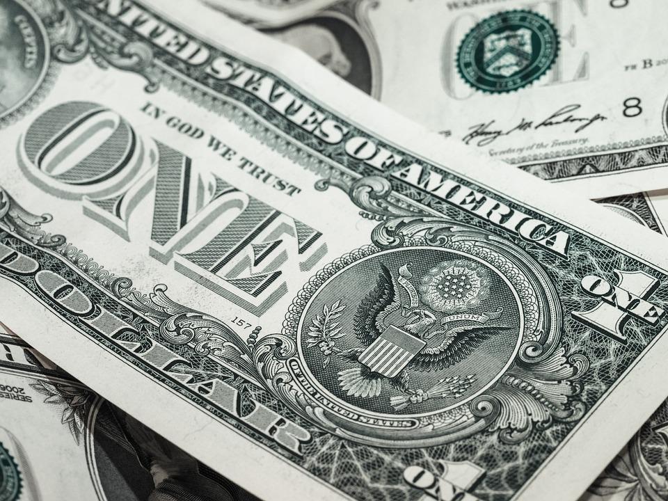 A closeup of a U.S. $1 bill.