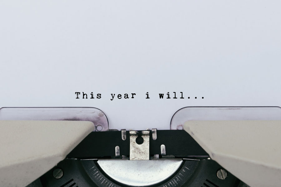 Vintage typewriter used to write new year's resolutions