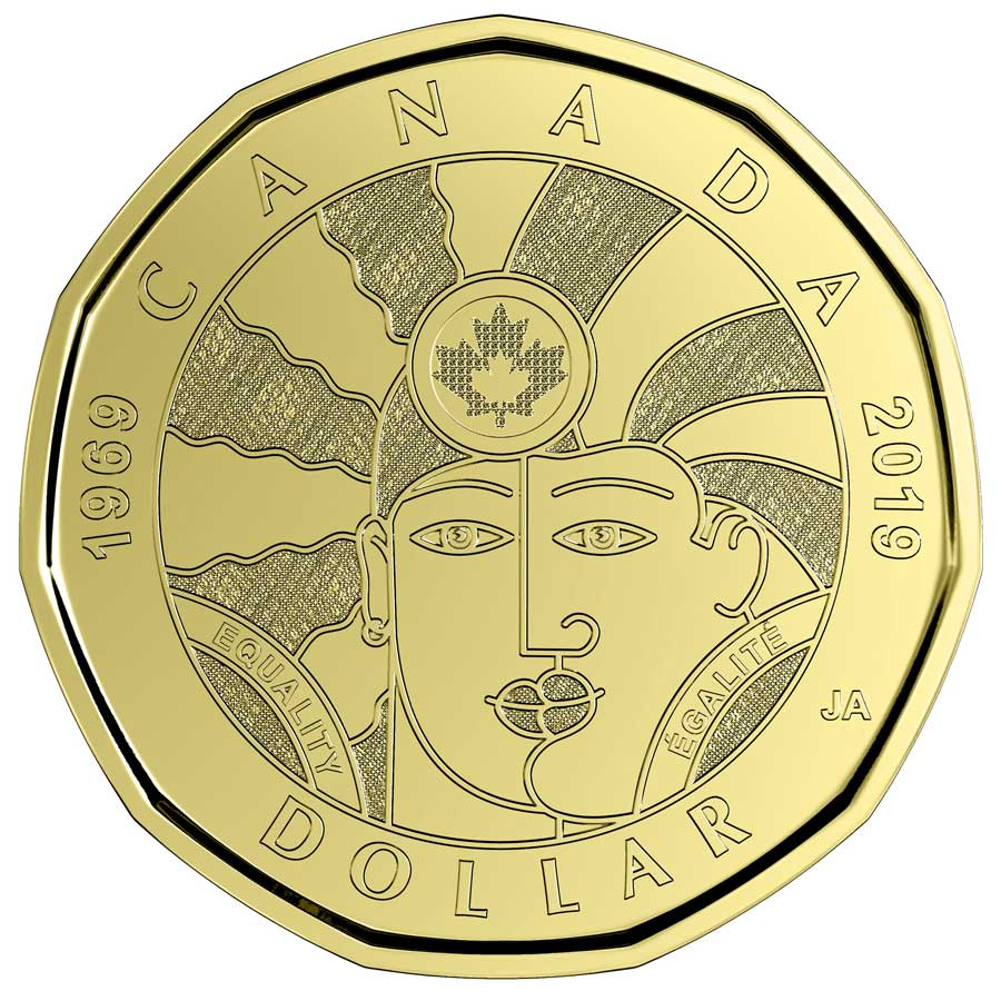 New Canadian Loonie featuring two overlapping faces with the word egalite.