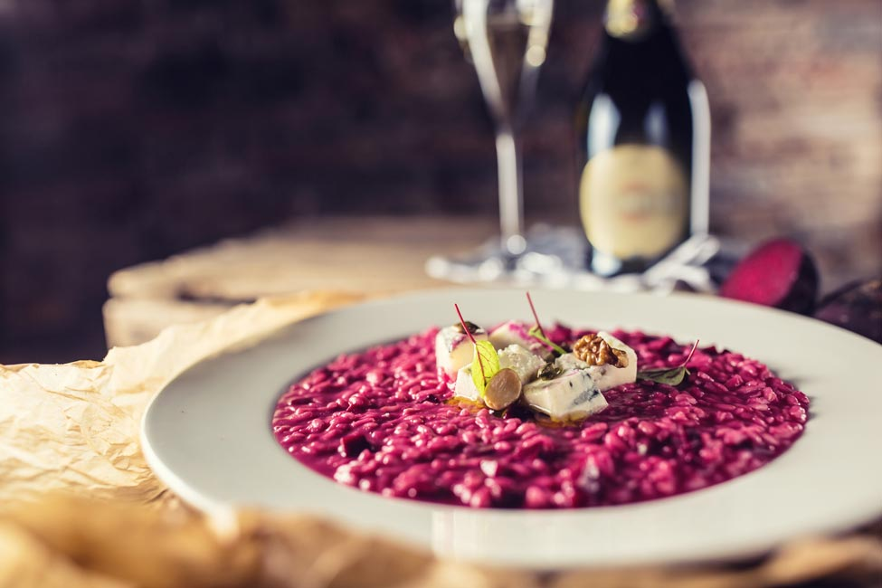 A dish of beet risotto.