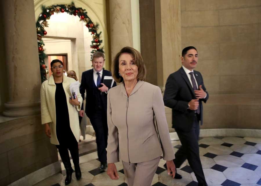House Minority Leader Nancy Pelosi (D-CA) walks to an interview at the U.S. Capitol on January 02, 2019 in Washington, DC. Pelosi, who is scheduled to become the next Speaker of the House tomorrow, will meet with other leaders of Congress and U.S. President Donald Trump at the White House later today to discuss border security and ending the partial shutdown of the U.S. government.