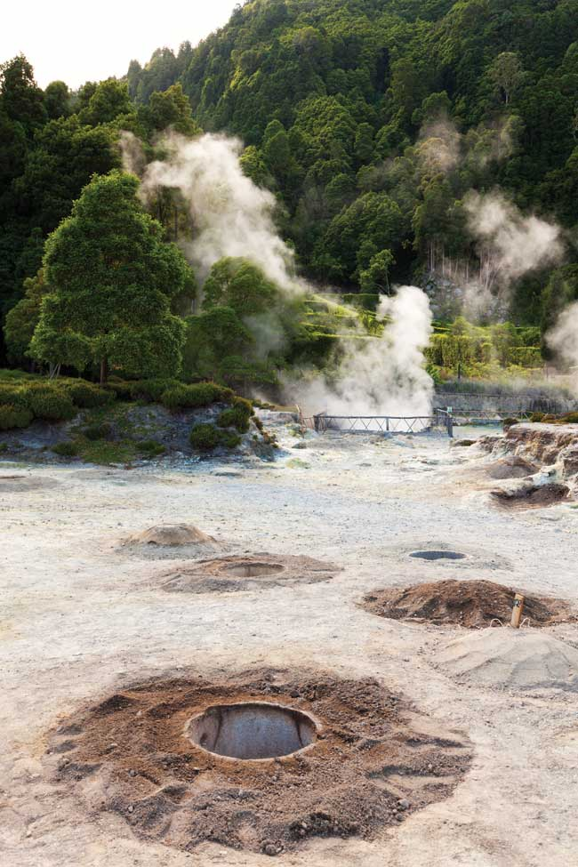 The hot springs at Furnas Lake in Azores, Portugal.