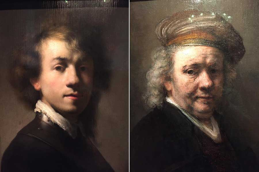Two self portraits of Rembrandt: one when he's younger and one when he's older a grey haired.