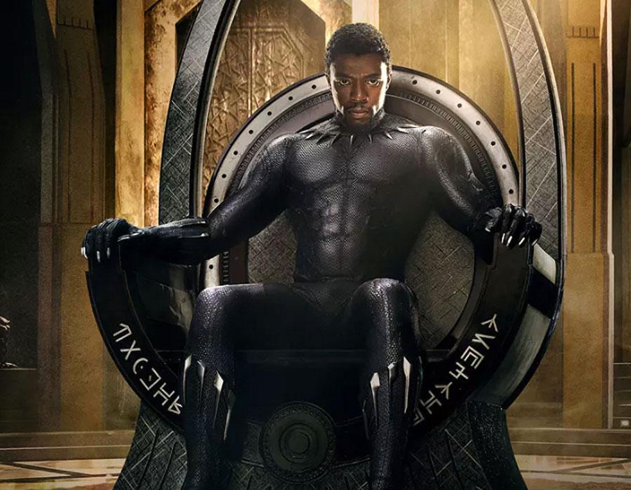 Black Panther superhero sitting on the Wakanda throne.