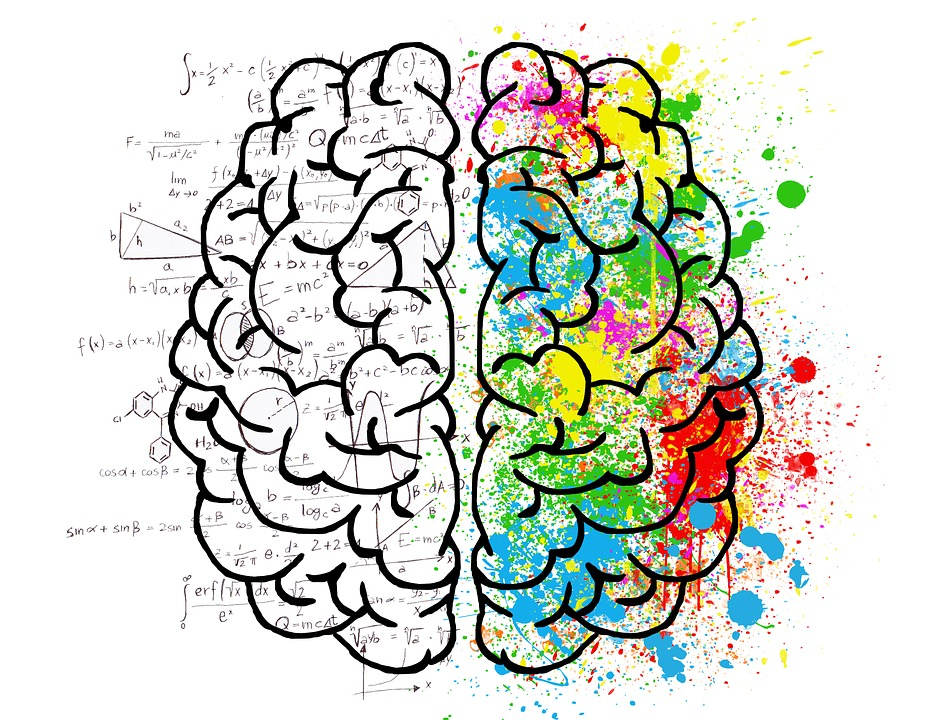 An illustration of a brain split into left and right with equations written all over the left side and splotches of colour on the right.