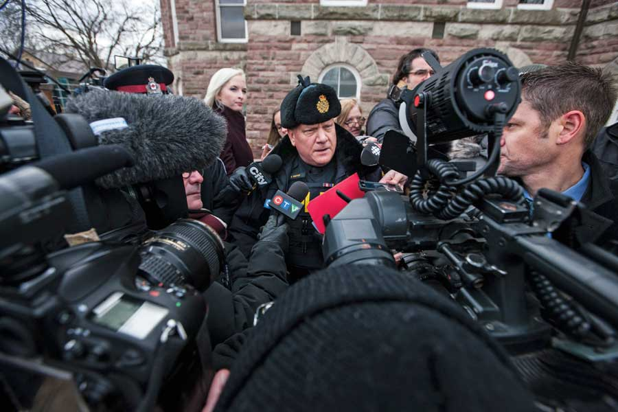 Sgt. Dave Rektor speaks to the media outside the Woodstock court house as OPP announce six more charges against Wettlaufer on January 13, 2017.