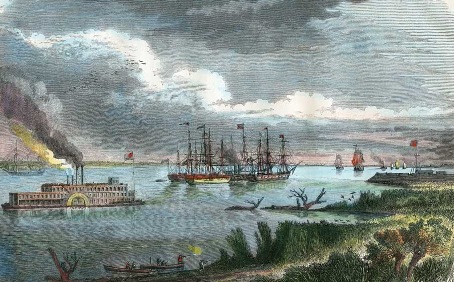 A painting of a steam-packet and tug-boat on the Mississippi.