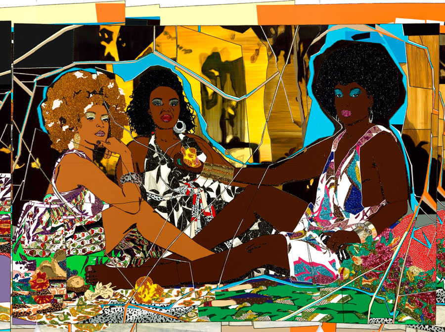 A painting of three black women from the Mickalene Thomas's Femmes Noires exhibit at the AGO.