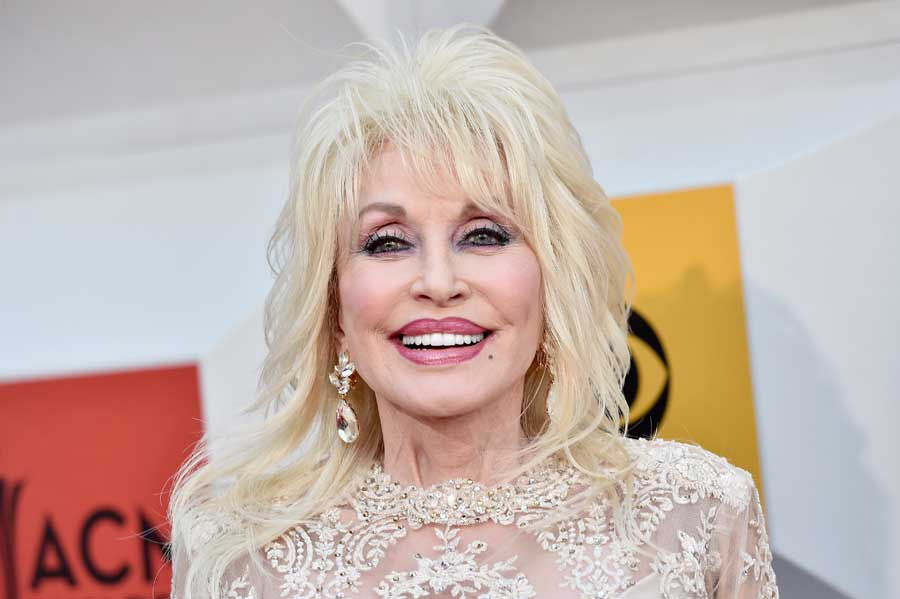 Dolly Parton wearing a gold dress, smiling.