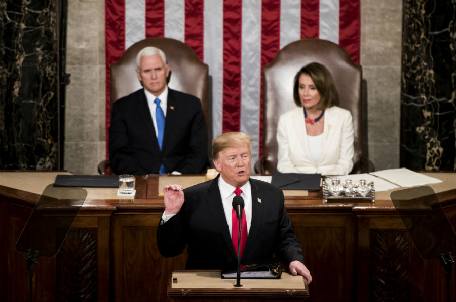 President Donald Trump delivers his State of the Union Address to a joint session of Congress in the Capitol on Tuesday, Feb. 5, 2019, as Vice President Mike Pence and Speaker of the House Nancy Pelosi, D-Calif., listen. (Photo By Bill Clark/CQ Roll Call)