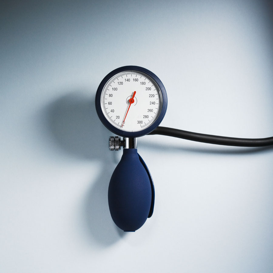 A blood pressure pump on a white background.
