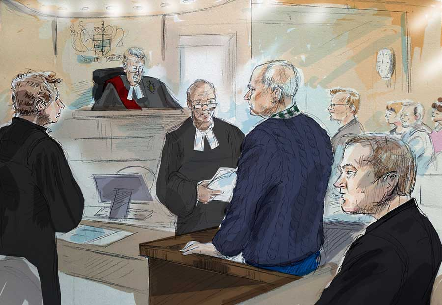 Defence lawyer James Miglin, left to right, Justice John McMahon, court registrar, Bruce McArthur, Crown Attorney Michael Cantlon, Detective Hank Idsinga, and friends and family of victims, back right, are shown in this court sketch in Toronto on Tuesday, January 29, 2019.