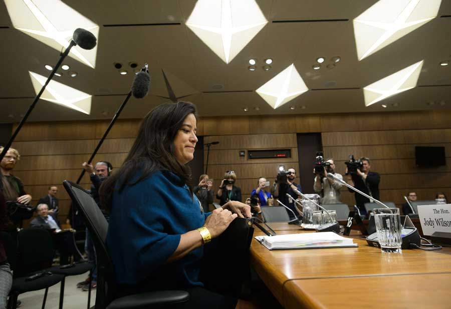 Jody Wilson-Raybould appears at the House of Commons Justice Committee on Parliament Hill in Ottawa on Wednesday, Feb. 27, 2019.
