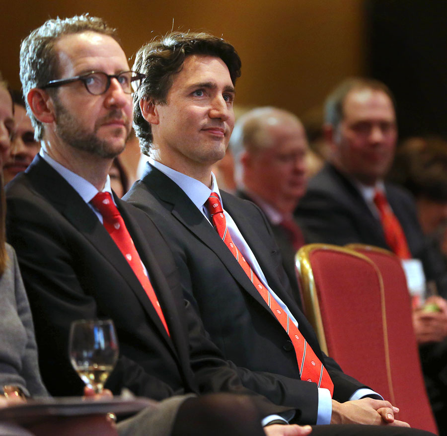 "Liberal Leader Justin Trudeau sits with his advisor Gerald Butts before he speaks at the Royal York Hotel about ""Liberty in a culturally diverse society."" while addressing the McGill Institute for the Study of Canada in the Canadian Room at the Royal York Hotel in Toronto. March 9, 2015."