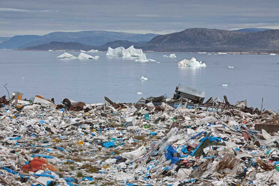 Rubbish at a garbage dump in Greenland. About 8 million metric tons of plastic are tossed into our oceans each year.