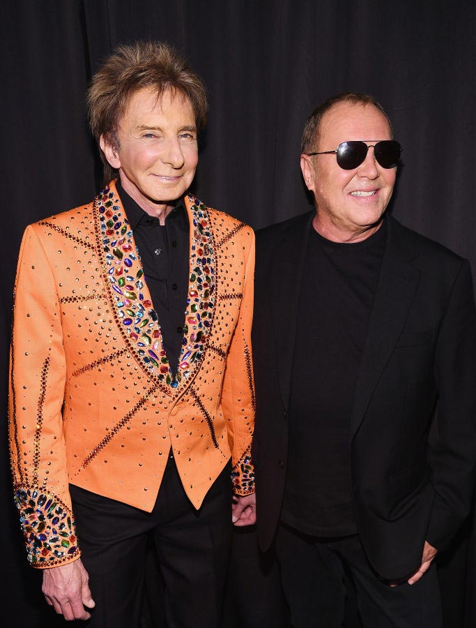 Barry Manilow (L) and Michael Kors pose backstage during Michael Kors Collection Fall 2019 Runway Show at Cipriani Wall Street on February 13, 2019 in New York City. (Photo by Dimitrios Kambouris/Getty Images for Michael Kors)