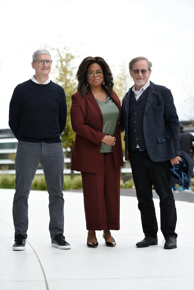 Oprah with Apple CEO Tim Cook and Steven Spielberg: Photo by Michael Short/Getty Images
