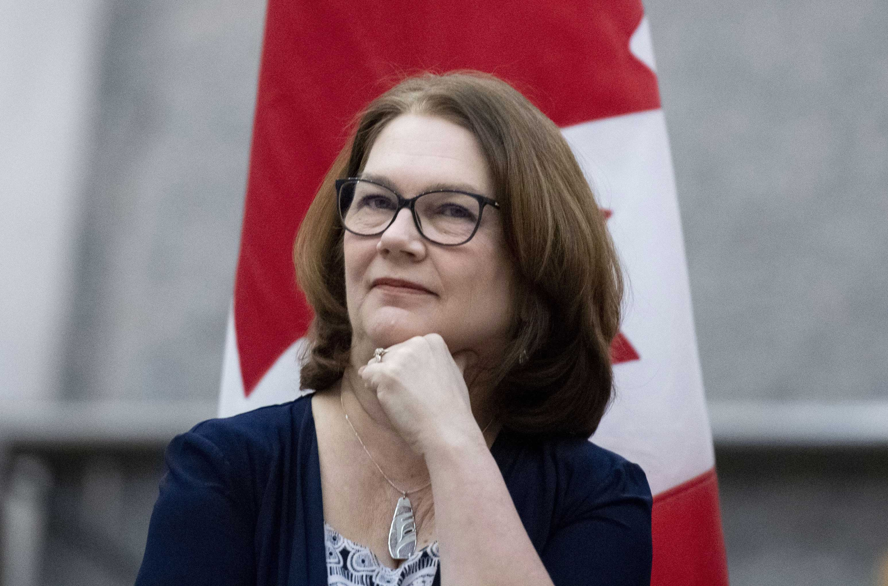 Jane Philpott with a Canadian flag draped behind her.