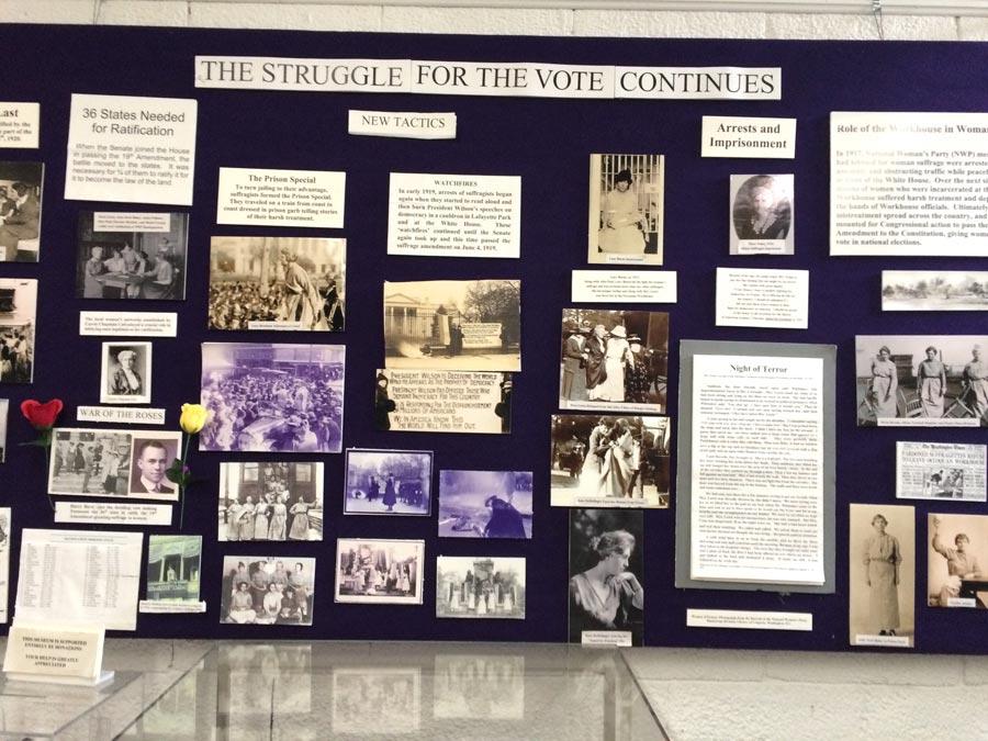 Suffrage art display.