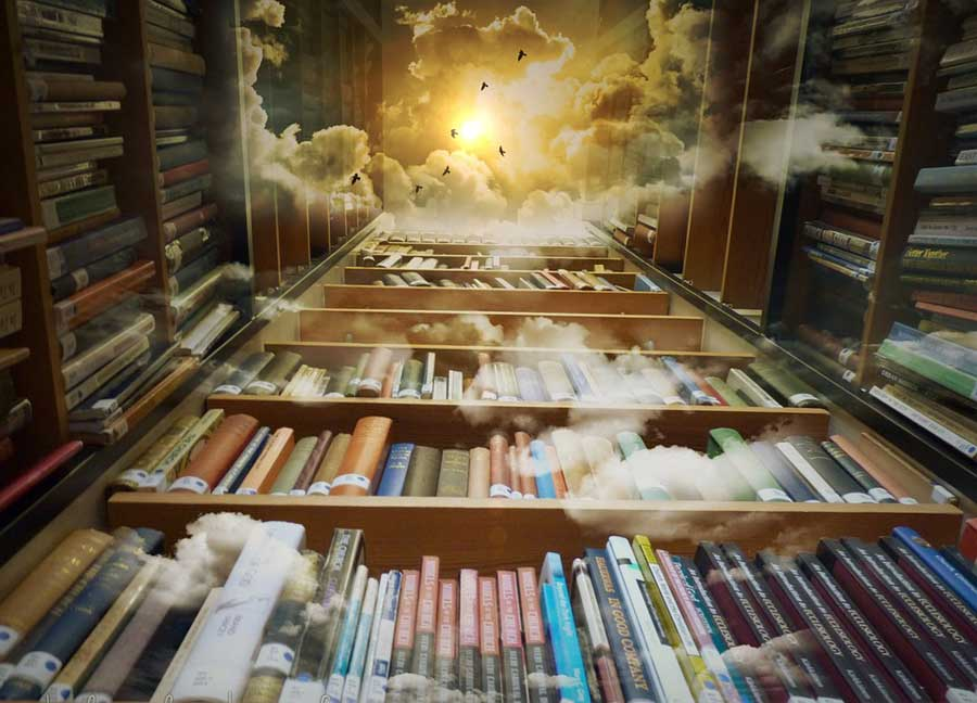 A shelf of books leading up to a cloudy sky and sun above.