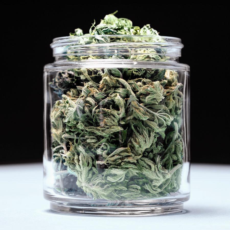 A container of marijuana buds.
