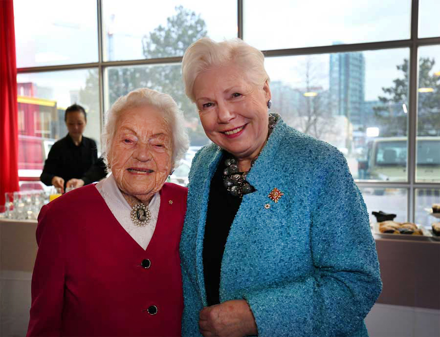 Hazel McCallion and The Hon. Elizabeth Dowdeswell pose for a photo at the Zoomer Magazine cover reveal in Toronto.