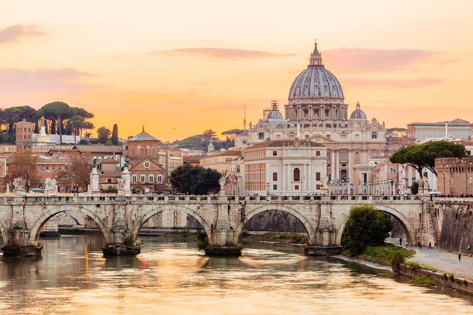 St. Peter's in Rome at sunset