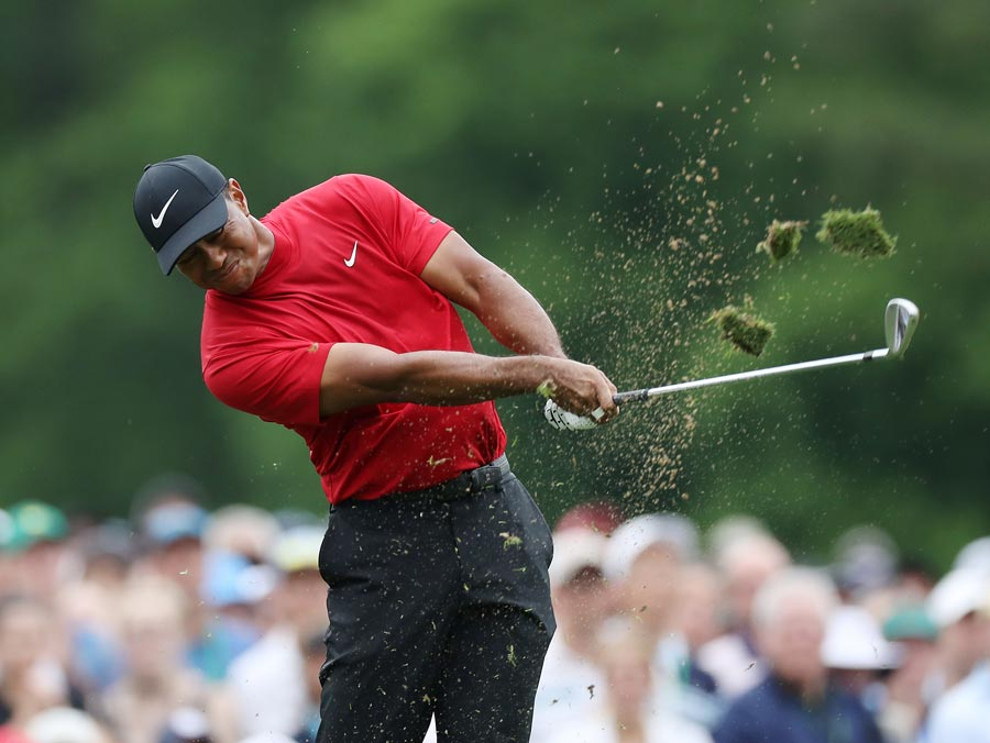 Tiger Woods of the United States plays a shot from the 12th tee during the final round of the Masters at Augusta National Golf Club on April 14, 2019 in Augusta, Georgia. (Photo by David Cannon/Getty Images)
