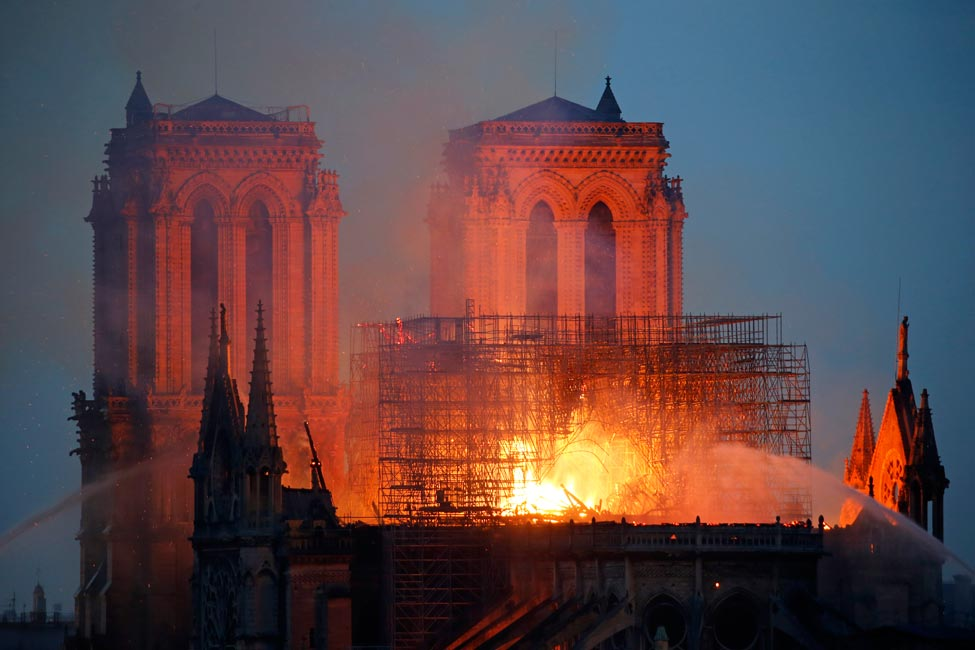 Notre Dame in Paris is on fire.