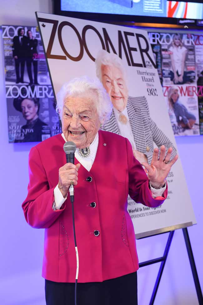 Hazel McCallion addresses the audience at a cover reveal event in Toronto. (Photo: George Pimentel)