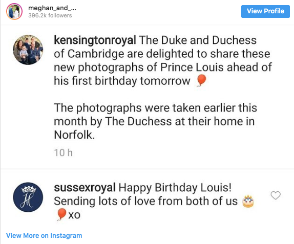 Happy Birthday message to Prince Louise from Prince Harry and Meghan Markle