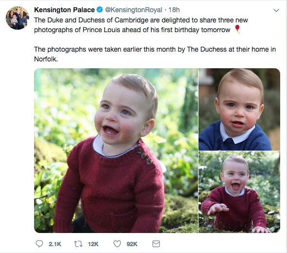 Photos of Prince Louis taken for his first birthday