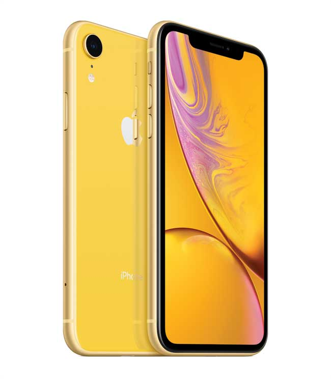 An iPhone in a yellow case.