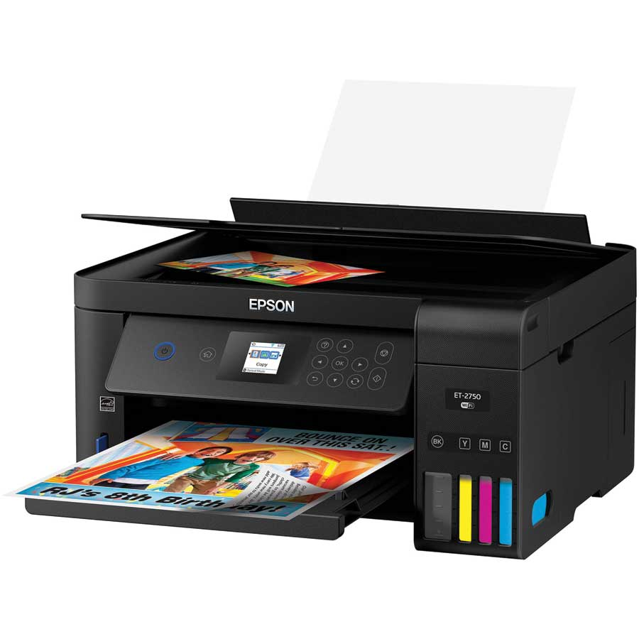 A Printer with a colourful photo printed in the tray.